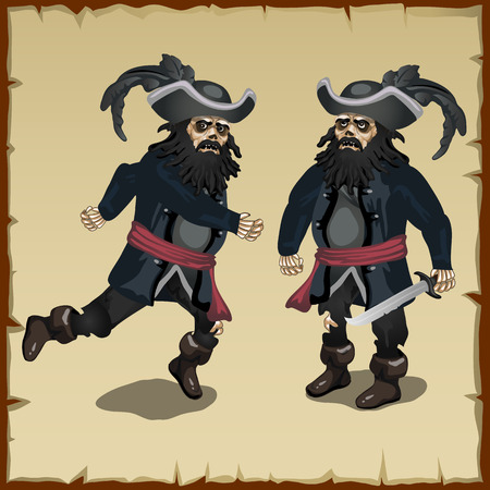 sea robber: Two image black pirate standing and running
