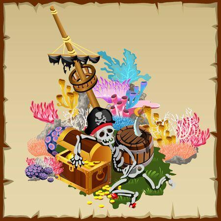 tesoro dei pirati, frammento di una nave albero e guardia scheletro