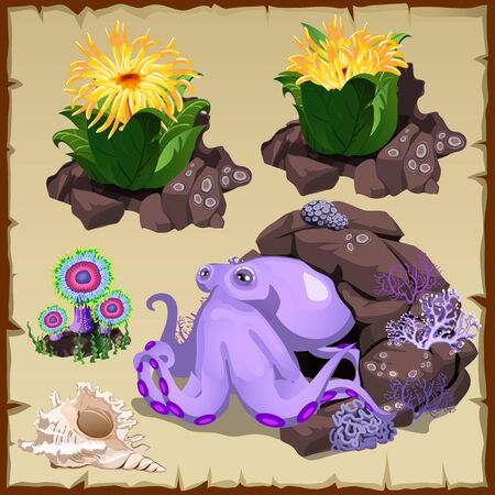 monsters house: Octopus is resting on the seabed, five vector icons in set Illustration