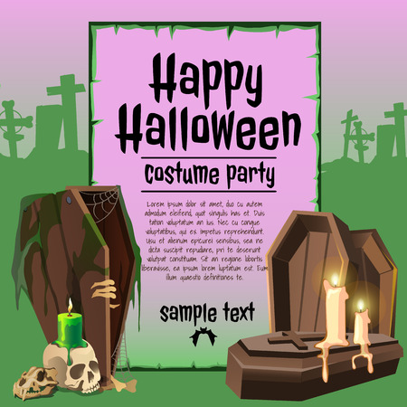 coffins: The coffins and candles in an abandoned graveyard, party costumes happy Halloween, card with sample text Illustration