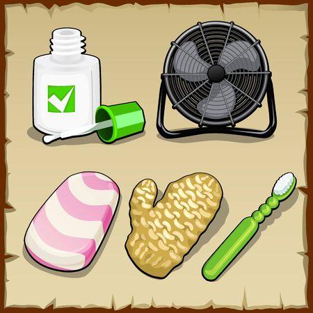 autocuidado: Conjunto de objetos de la oficina, la higiene personal y el confort Vectores