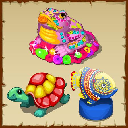 doctrine: Three vector colorful figurines of sea creatures