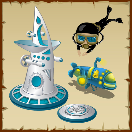 man underwater: Diver, underwater station and submarine, cartoon characters Illustration