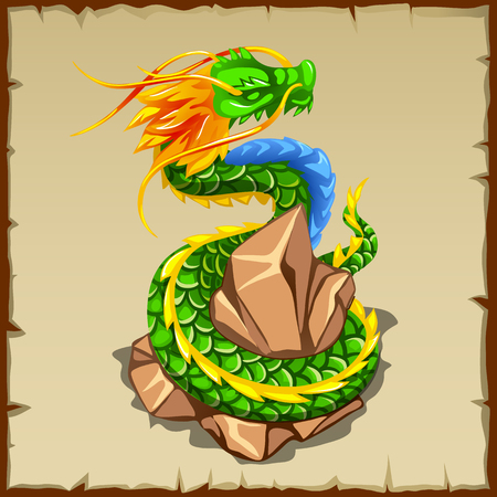 folktale: Green dragon wraps around the stone, cartoon character