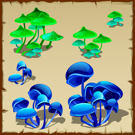 luminescent: Green and blue fictional mushroom, set of five icons