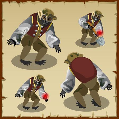 monkey suit: Four monkey monster costumes, cartoon character Illustration
