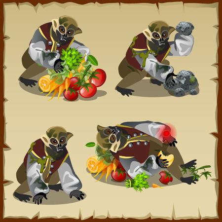 zanahoria caricatura: Cuatro monstruo mono con la comida bot�n, personaje de dibujos animados Vectores