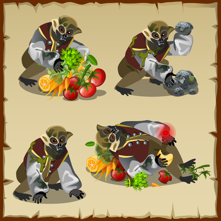 overeat: Four monkey monster with the loot food, cartoon character