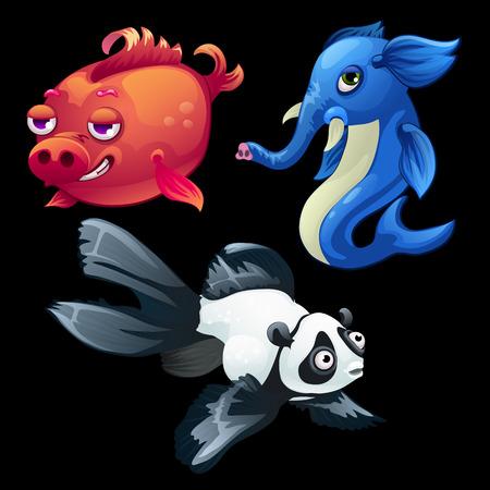 hybrid: Hybrid animals and fish, elephant, Panda and pig Illustration