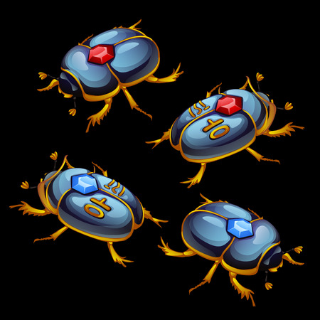 ruby: Set of Egyptian beetles with ruby and sapphire in the shell