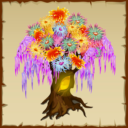 fairy tree: Bright fairy tree with multicolored foliage of different flowers Illustration