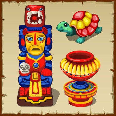 three objects: Mayan totem, the turtle and decorative vase, three colorful objects