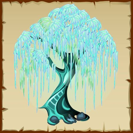fairy tree: Blue fairy tree with lush foliage, vector image Illustration