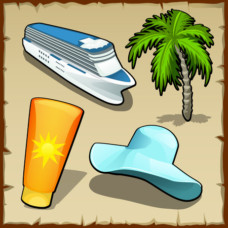 exotica: Four symbols of rest and travel in the summer, hat, cream and other