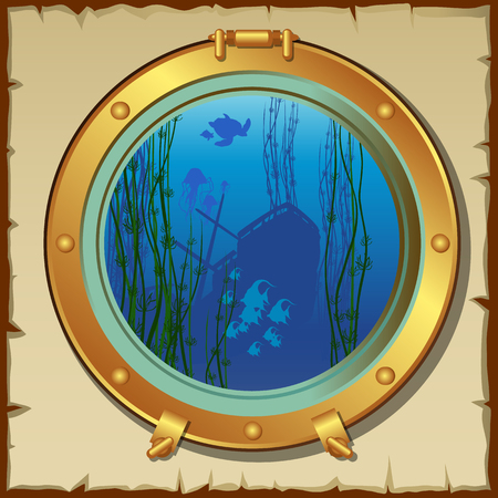 Submarines porthole with view of the underwater landscape and sunken ship
