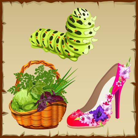 centipede: Symbols of summer, pink shoes, basket with vegetables and a cute centipede Illustration