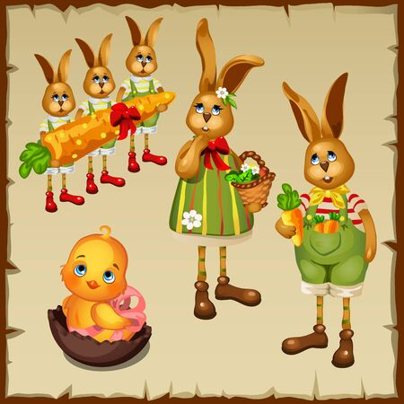 chocolate egg: Family of rabbits and chicken in chocolate egg, cute characters Illustration