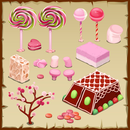 pastille: Big vector pink set of candies and different sweets