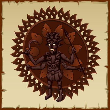 deity: Evil brown statue of an ancient deity with weapons and skulls