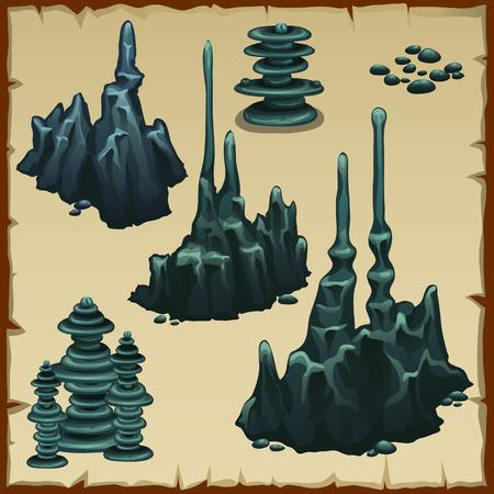 Set of grey vector stones stalactites Illustration