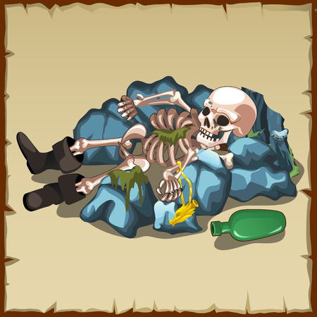 damnation: Skeleton in boots lies on the rocks with a bottle, vector artistic image Illustration