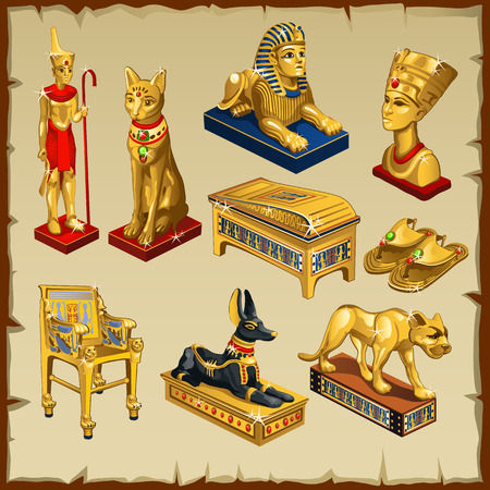 Big set of Egyptian statues made of gold, eight items
