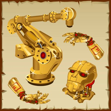 science icons: Vector set of the golden robot parts, arm, head and other Illustration