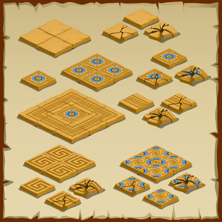 paving: Big vector set of paving tiles, Egyptian theme