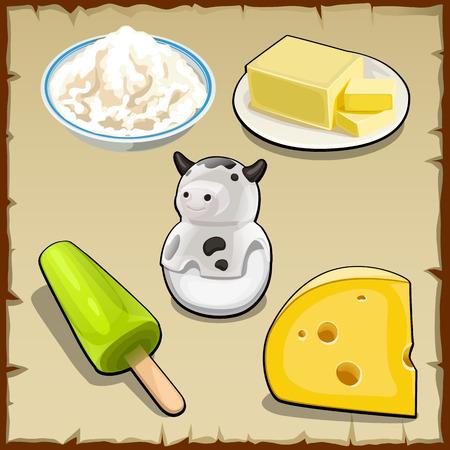cartoon ice cream: Vector conjunto de productos a base de leche, cuajada, queso y m�s