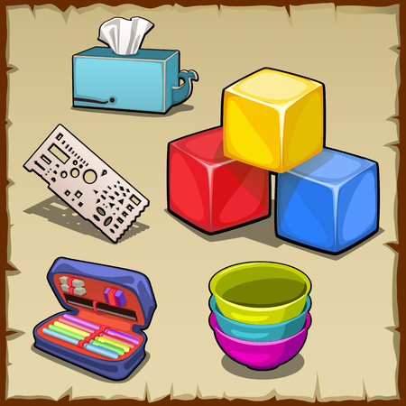 scholastic: Colorful cube set and tools of the first grader, five vector image Illustration