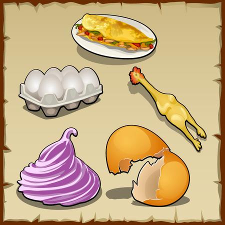 huevo caricatura: Vector conjunto de elementos con pollo, huevos cocidos y s�ndwich