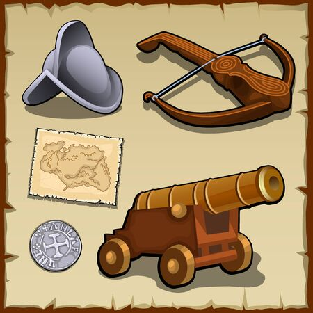 Vintage set of weapons and strategic items, money, map