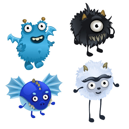 Vector set of four cute furry monster isolated