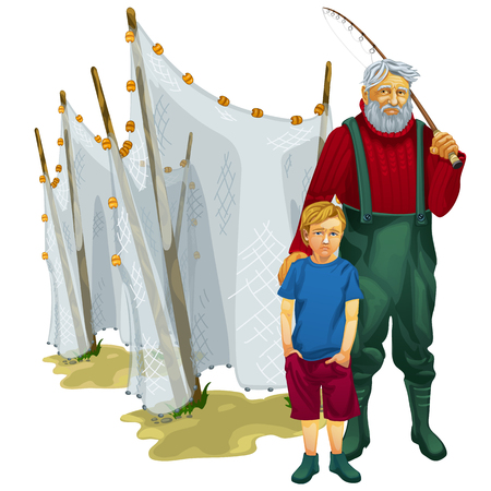 fishing nets: Father and son on a fishing trip with fishing nets