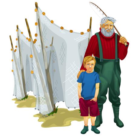 redes de pesca: Padre e hijo en un viaje de pesca con redes de pesca