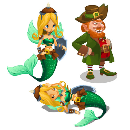 sea nymph: Two blonde mermaids and a man leprechaun, cartoon character Illustration