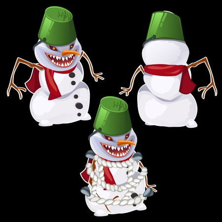 front and back: Evil snowman in three poses, front, back and related
