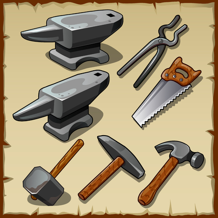 sledgehammer: Vector set of anvils, saws, hammers and other tools Illustration
