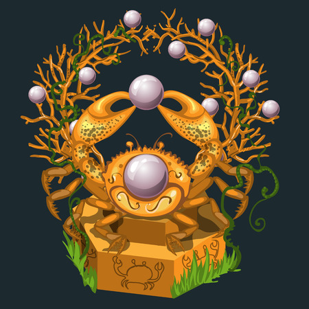 green crab: Jewelry from the Golden crab and large pearls, vector