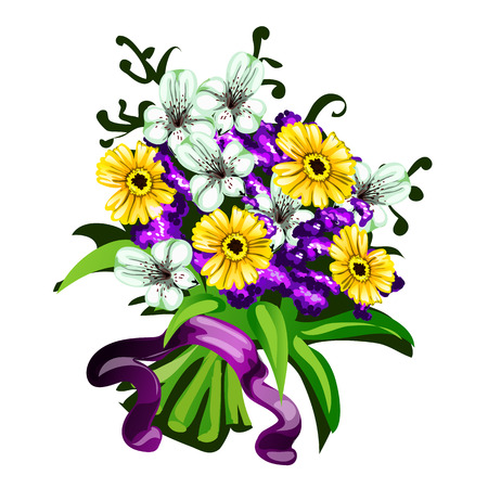 bunch flowers: Bright bouquet of flowers on a white background, vector illustration