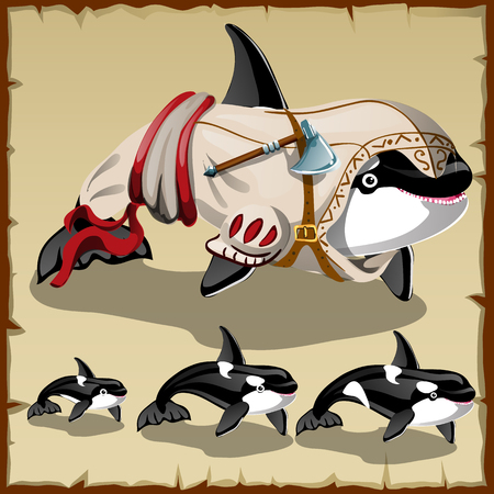 soldier fish: Set of killer whales and the armed orca, cartoon character
