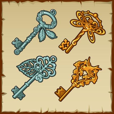 sacral symbol: Set of vintage keys with floral and bird ornament, four items Illustration