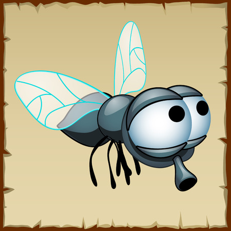 housefly: Gray fly with huge eyes, funny vector insect Illustration