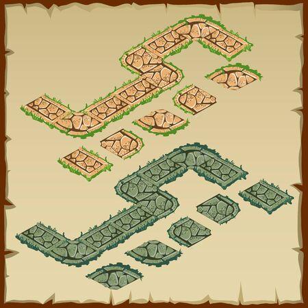 Vektor-Fragment von Steinspur, zwei Farben