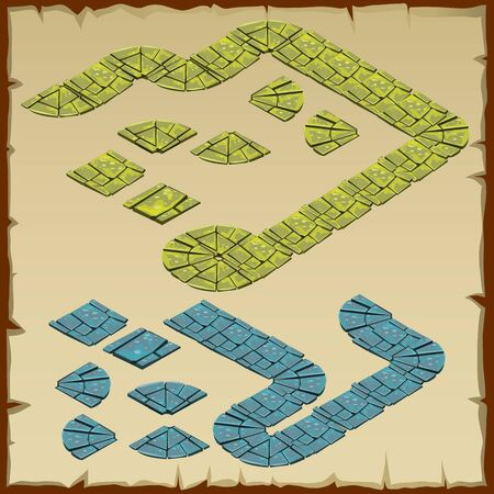cobblestone street: Vector fragment of stone track, two colors green and blue