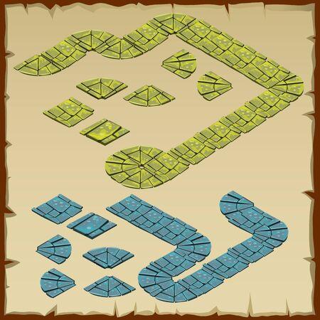 Vektor-Fragment von Steinspur, zwei Farben Grün und Blau