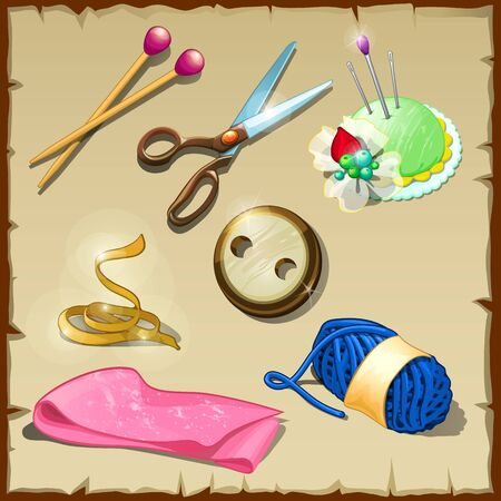 cotton velvet: Sewing kit tailor, seven vector items for sewing and knitting Illustration