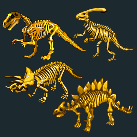 species: Golden skeletons of various species dinosaurs, four images