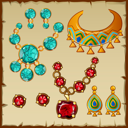 kingly: Big set ethnic jewelry with precious stones and metals Illustration