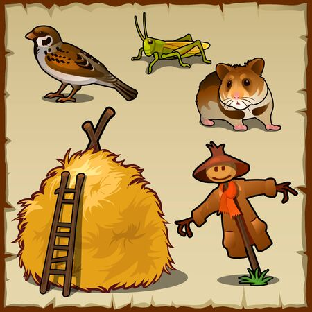 Village animals, haystack and scary scarecrow, pests of the crop Illustration